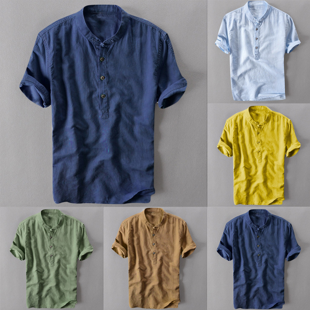 Summer Men/'s Cool  Thin Breathable Collar Hanging Dyed Gradient Cotton Shirt New