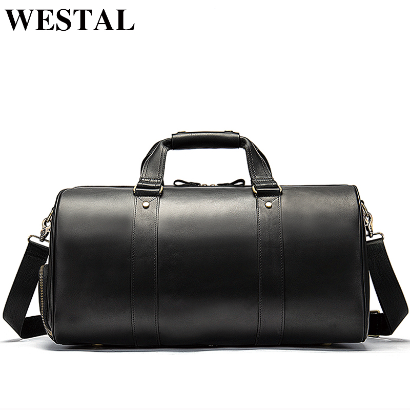 WESTAL Men Genuine Leather Travel Bag for Luggage Duffle Bag Suitcase Carry on Luggage male bags big weekend Bags Travel 8925