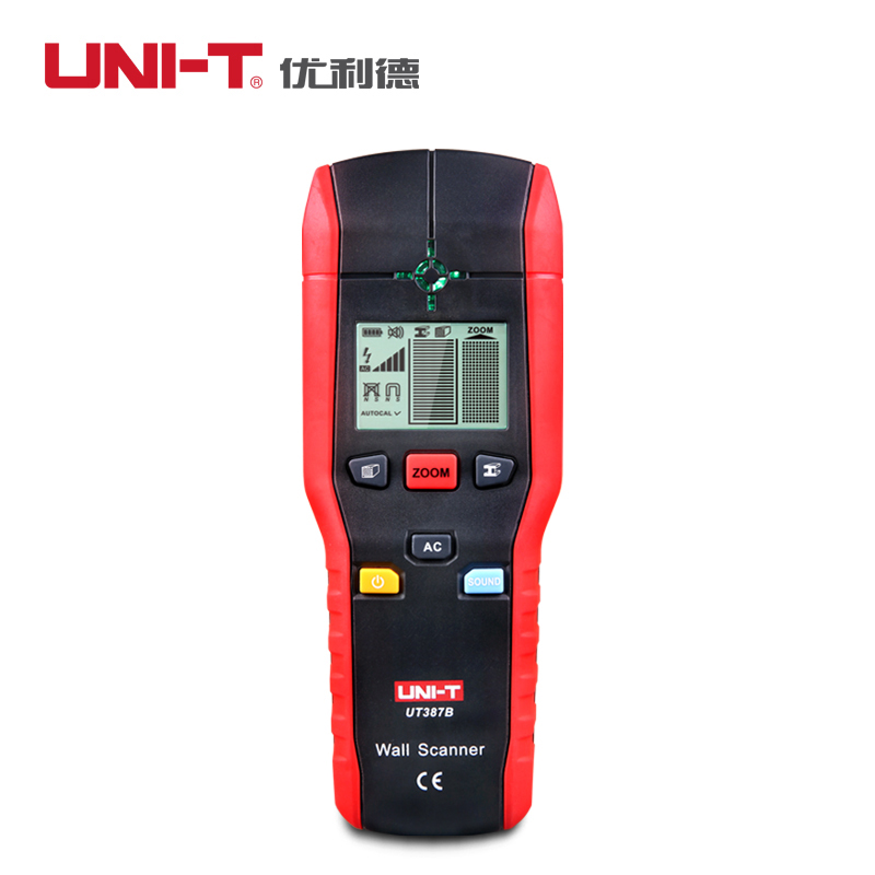UNI-T UT387B Professional Wall Detector tester Wood Metal AC Cable electric wire Finder Scanner Accurate Wall detecting tool uni t ut387b digital wall scanner detector ac wire metal dedector wood testing 80m 100% brand new