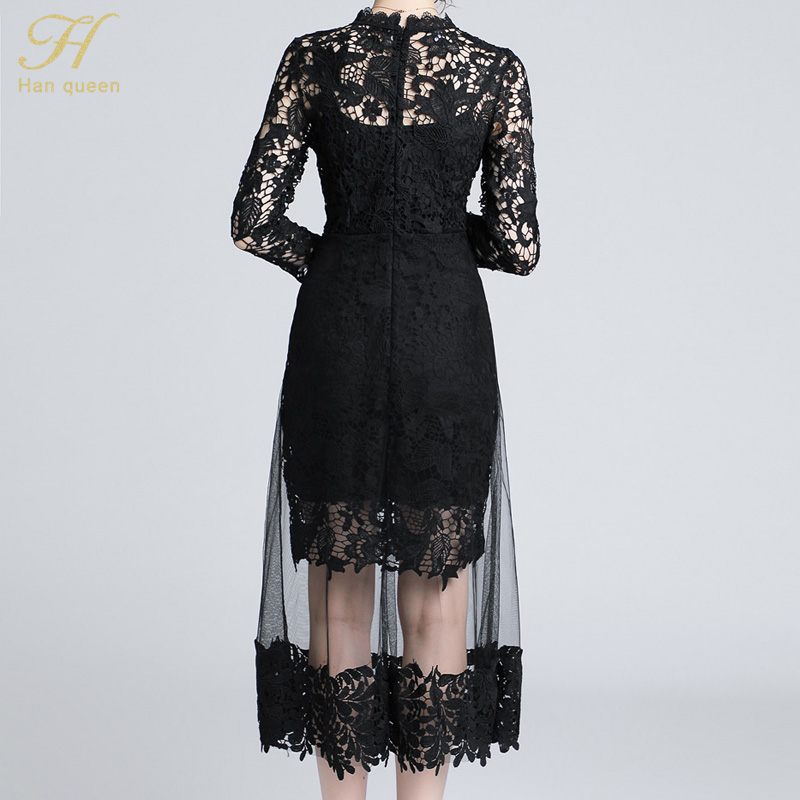 eda8b03409bfc H Han Queen Autumn Mesh Patchwork Lace Dress Women O-neck Work Casual Party  Slim