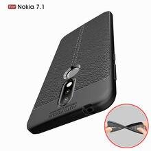 Lichee capa de textura de nokia 7.1, case para nokia 7.1 x7 8.1 nokia7.1 plus 2018, capa traseira de celular capa com estojo