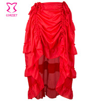 Corzzet Women Red Asymmetrical Ruffle Front Short Back Steampunk Skirt Vinatge Gothic Skirt For Women Matching Corset