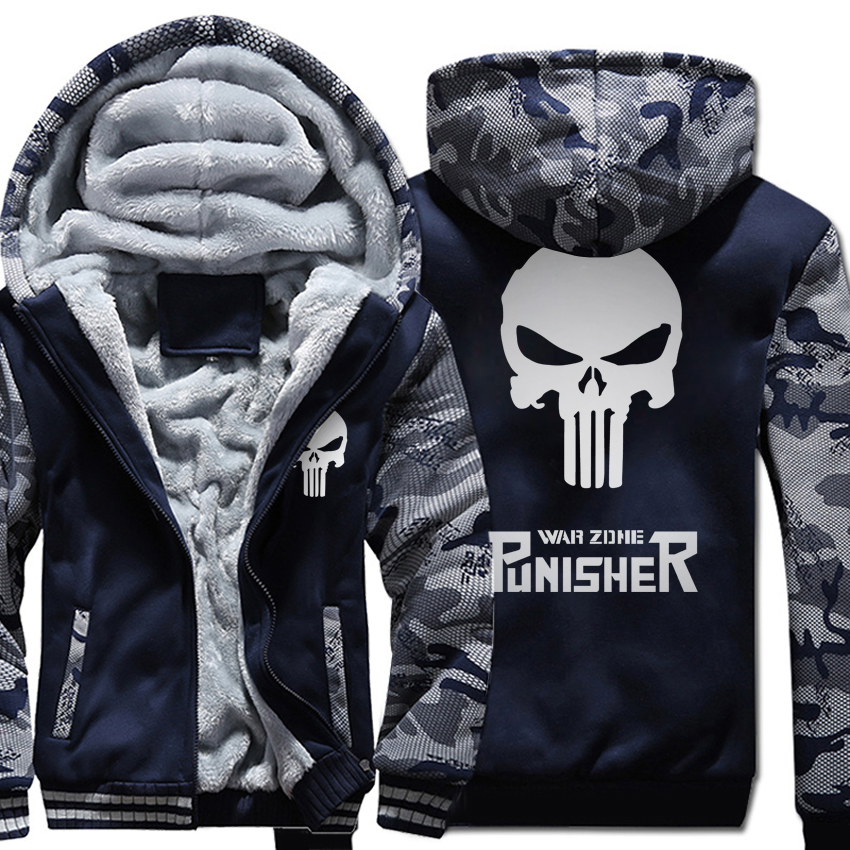 plus size fleece thicken Coat men wool liner Winter Warm Hoodies 2018 punisher Hooded Thick Zipper Jacket streetwear Sweatshirts