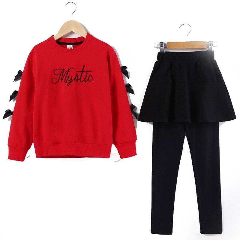 2018 Children Clothing Set Children's Kids Autumn Outfit Sports Suit Girls Child Suit Clothes Sweatshirts + Skirts Leggings Sale цена