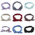 2016 Best Deal  40cm Lovely Headband  Fashion Bunny Ear Girl Headwear Bow Elastic Knot Headbands 9 Colors Free Shipping DM#6