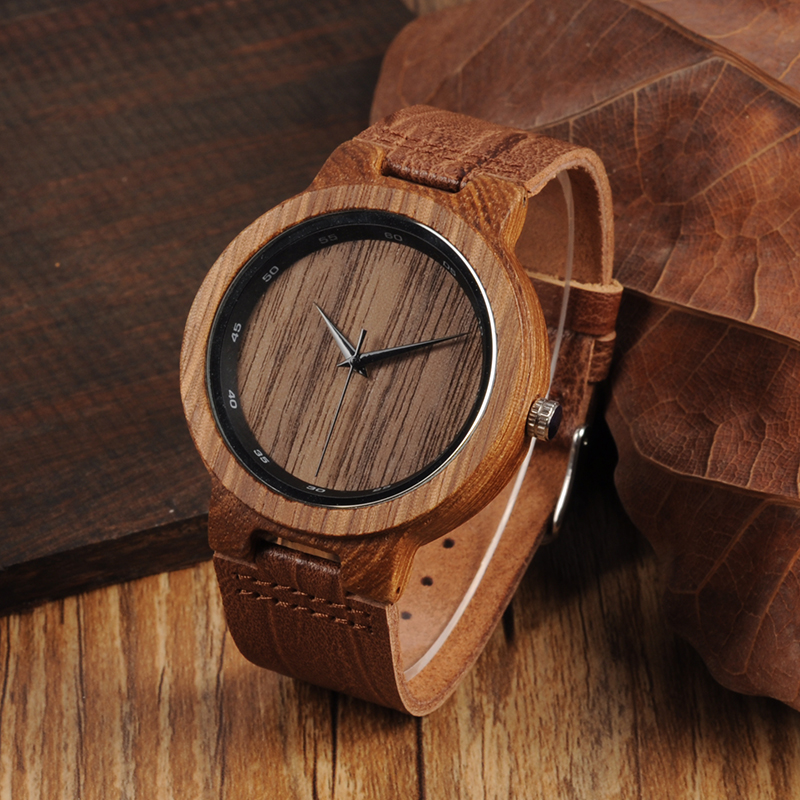 BOBO BIRD Mens Bamboo Wooden Sport Quartz Watches with Leather Band in Gift Box relojes hombre custom logo bobo bird men s wooden watch with all wood strap quartz analog with diamond relojes hombre gifts in wood box custom logo