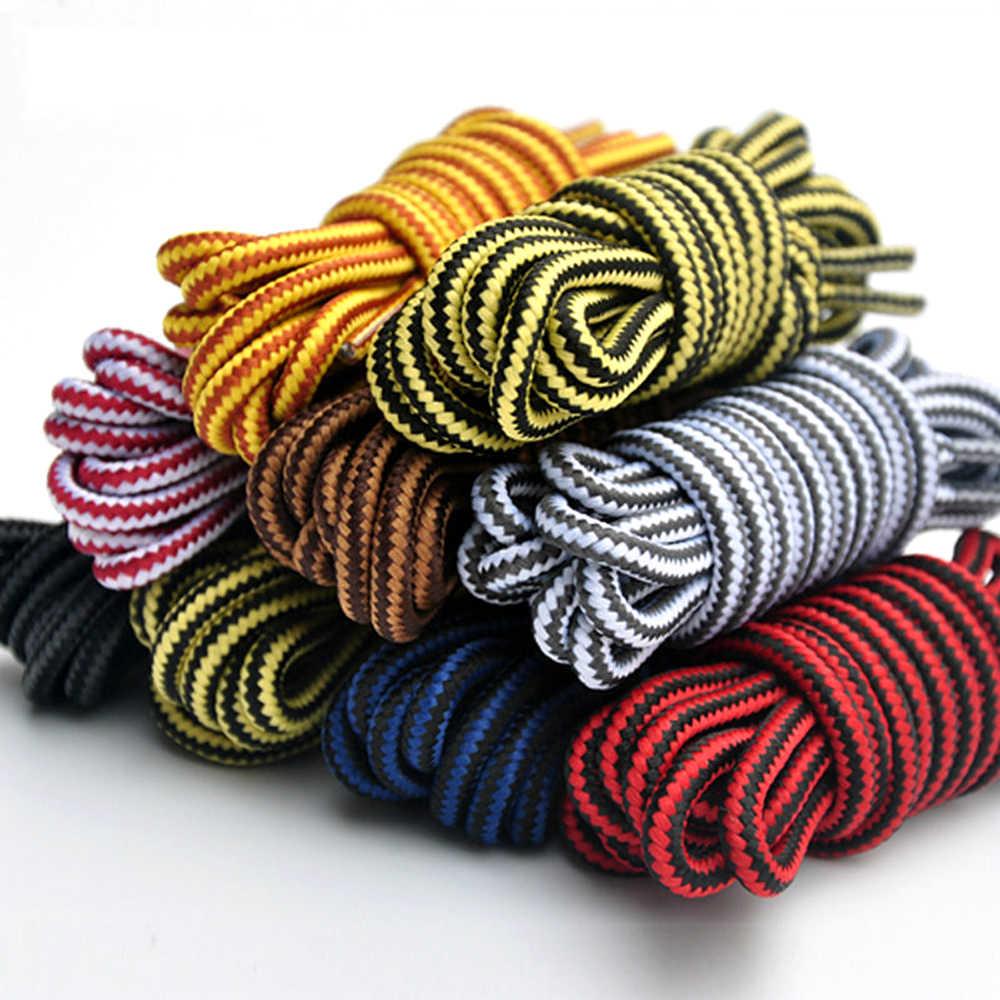1 par rayas redondas doble cordones de colores para hombres y mujeres Unisex cuero con encaje cordones de zapatos y botas al aire libre deporte zapatilla con cordones