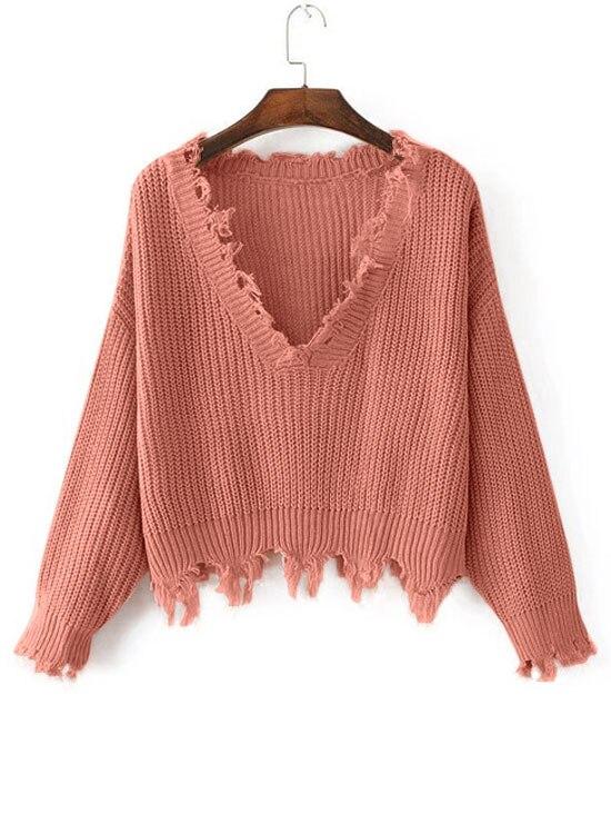 HTB1xp5PfBoHL1JjSZFwq6z6vpXaM - FREE SHIPPING Women Sweaters One Size Ripped V Neck JKP363
