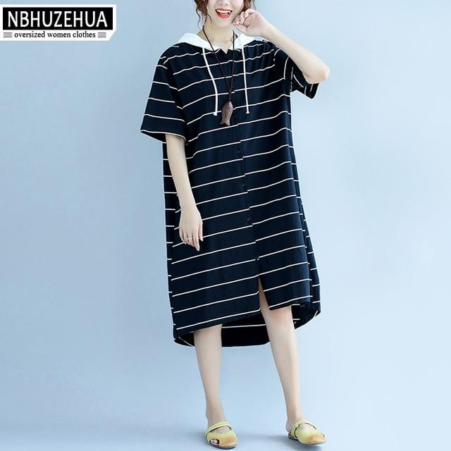 d6976827753 Plus Size 3XL 4XL 5XL Women s Summer Cardigan Hoodie Dress Women Korean  Fashion Short Sleeve Stripe Dresses Black Yellow D18