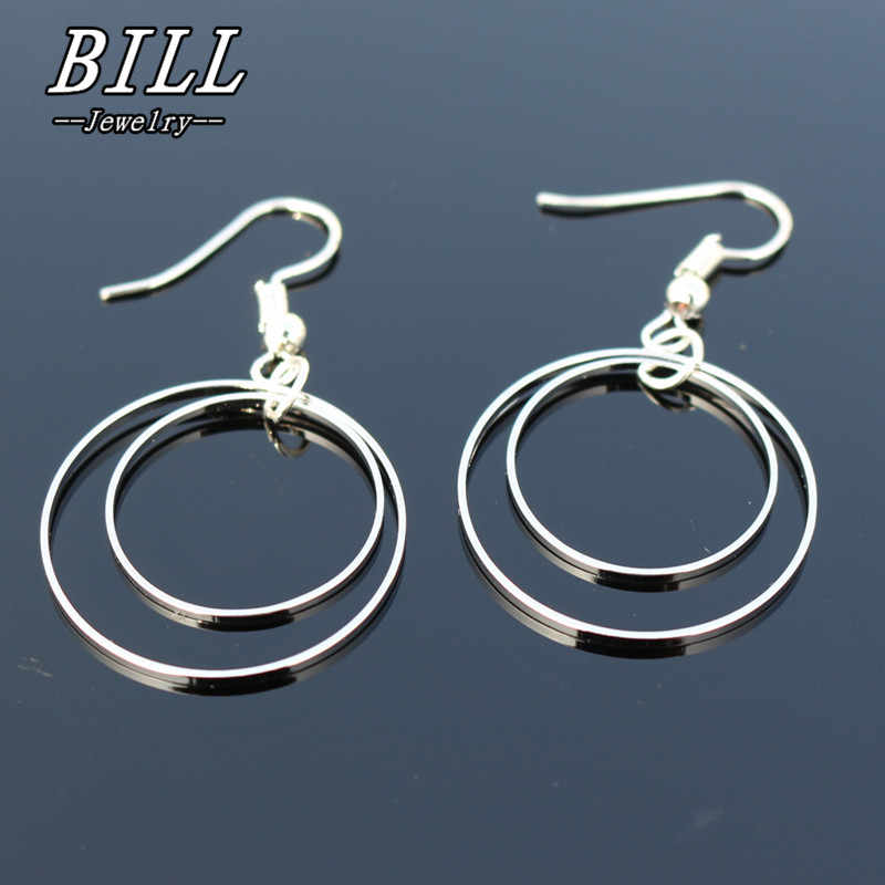 ES2011 Geometric Drop Earrings Women Double Circle Dangle Earring Fashion Brincos Simple Metal Ear Fine Jewelry One Direction