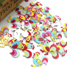 10/50/100pcs Mix Animal Cock 2 Holes Wood Painting Sewing Buttons WB386(China)