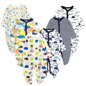 Image 5 - 6pieces/lot Baby rompers Newborn Baby Girls Boys Clothes 100% Cotton Long Sleeves Baby Pajamas Cartoon Printed Babys Sets
