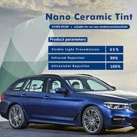 VLT 65% Nano Ceramic Car Protection Light Blue Window Tint Solar Film UV 100% for Car Windshield Front Rear Window 5x100feet