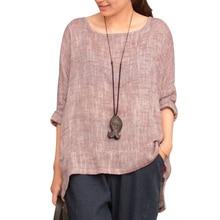 Long Sleeve Harajuku Women Vintage Blouse Tops Linen Plus Size O Neck Summer Shirts Ladies Casual 2018 Asymmetrical Loose Blusas