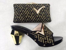 Italian Shoe With Matching Bag New Design Ladies Sandal Matching Shoe And Bag Set With Rhinestones Size 38-43 TH05