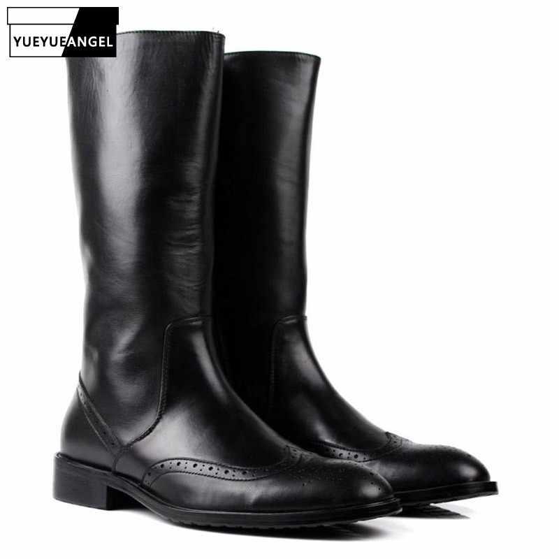 681c4e86b Итальянские зимние мужские сапоги до колена в байкерском стиле с  перфорацией типа «броги»,