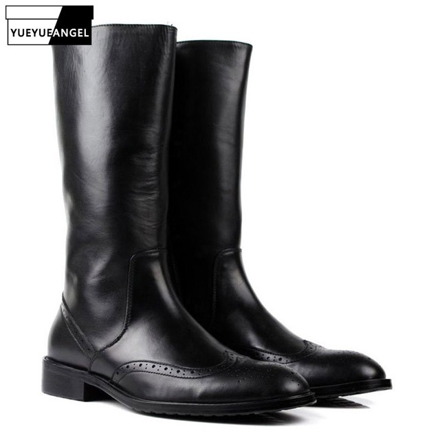 Italian Winter Mens Knee High Motorcycle Riding Boots Brogue Luxury Genuine Leather Military Martin Boots Black Army Shoes Male
