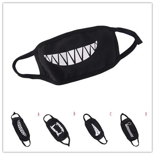 1Pc Unisex Black Cotton Dustproof Mouth Face Mask Cartoon Kpop Women Men Muffle Cute Face Mouth Masks 2019 New