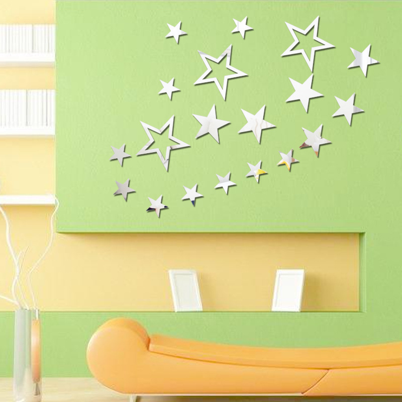19 pcs/lot Five Pointed Stars Mirror Wall Stickers Fashion Design ...