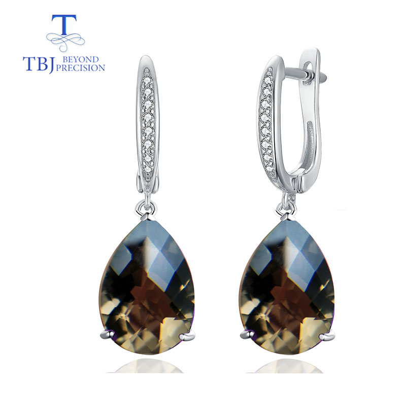 TBJ Natural smoky quartz checkerboard cut 15 5ct real gemstone dangle clasp earring 925 sterling silver