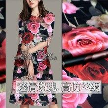 150 cm heavy printed fabric high imitation silk rose print Hanfu dress chinese fabric material wholesale cloth 150 cm heavy printed fabric high imitation silk rose print hanfu dress chinese fabric material wholesale cloth