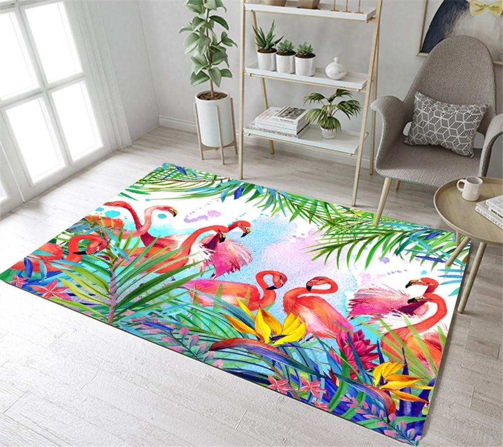 Lb Flamingo Tropical Plant Palm Tree Leaf Kitchen Area Rug