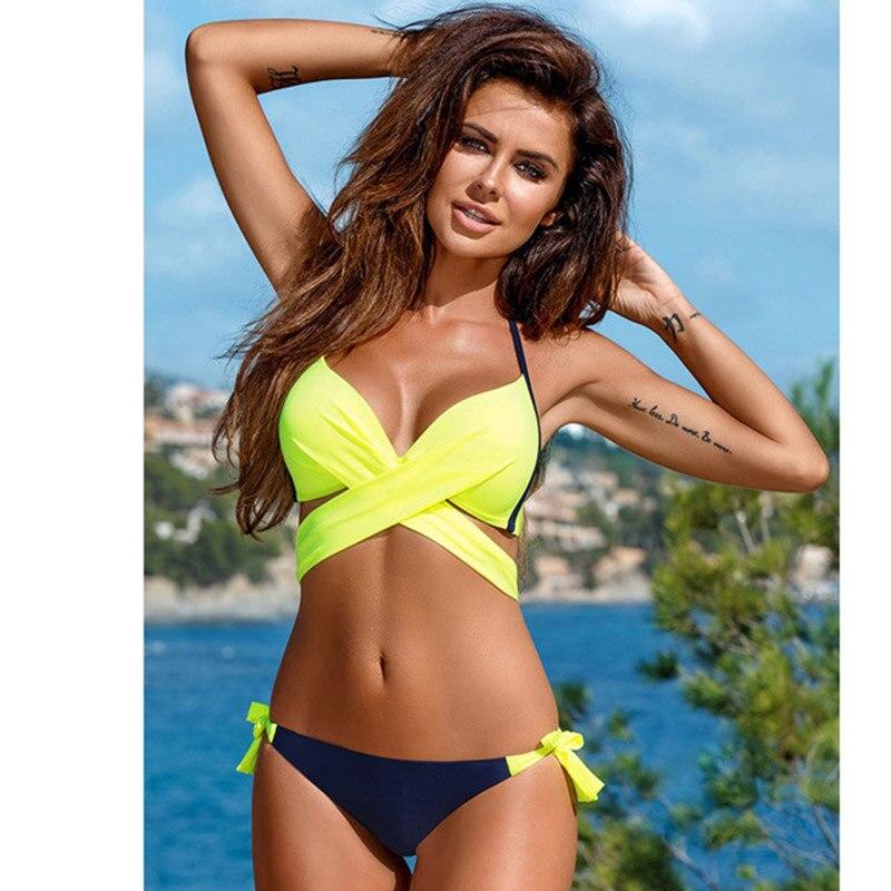 Sporlike Push Up Bikini 2017 Cross Stripe Women Swimwear Swimsuit Halter Top Print Maillot De Bain Biquini Bathing Suits XXL