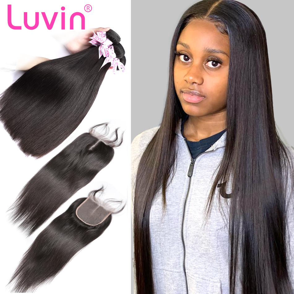 Luvin 28 30 32 40 Inch Brazilian Hair Weave Bundles Straight Human Hair 3 4 Bundles With Lace Closure Remy Hair Extension-in 3/4 Bundles with Closure from Hair Extensions & Wigs    1