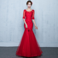 Baeybe Top Quality Elegant Red Mermaid Sexy Maxi Long Dress Evening Gown Party Club Dress Lace