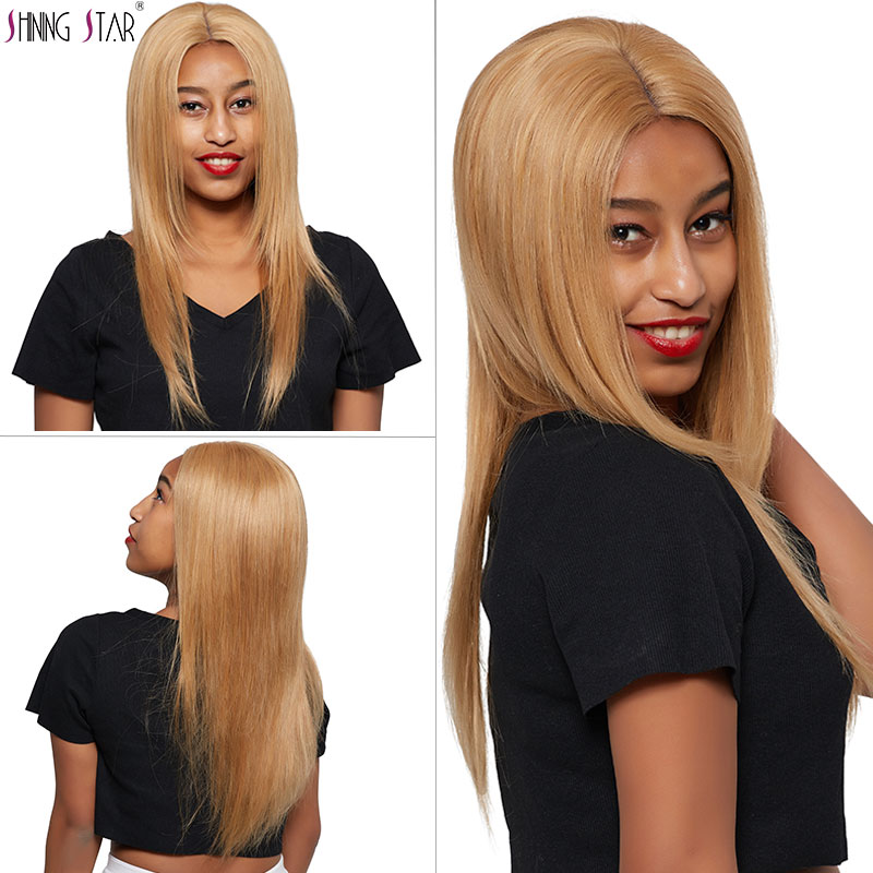 Colored 27 Brazilian Honey Blonde Bundles With Closure Straight 3 Human Hair Bundles With Closure Shining
