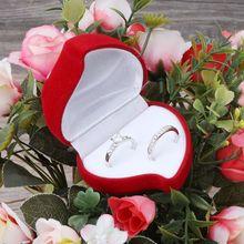Двойные свадебные кольца коробка бархат в форме сердца Красная роза цветок коробка ювелирных изделий дисплей