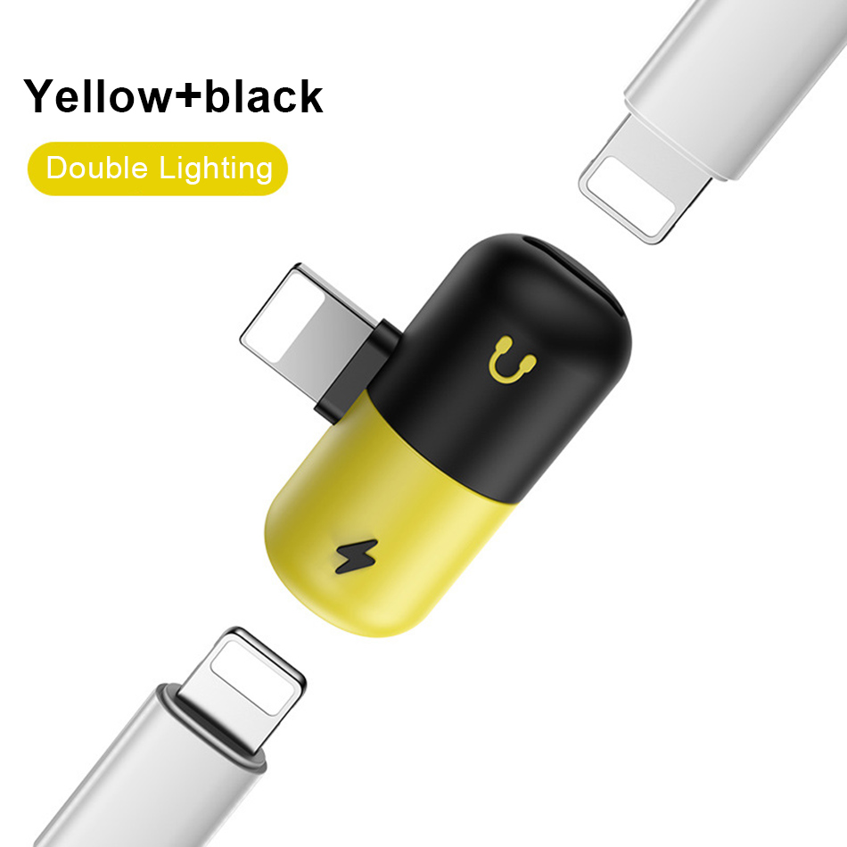 !ACCEZZ Pill Shape 2 3 IN 1 Dual Lighting Quick Charging&Headphone Adapter For iphone X 8 7 Plus Jack to Earphone AUX Splitter (7)