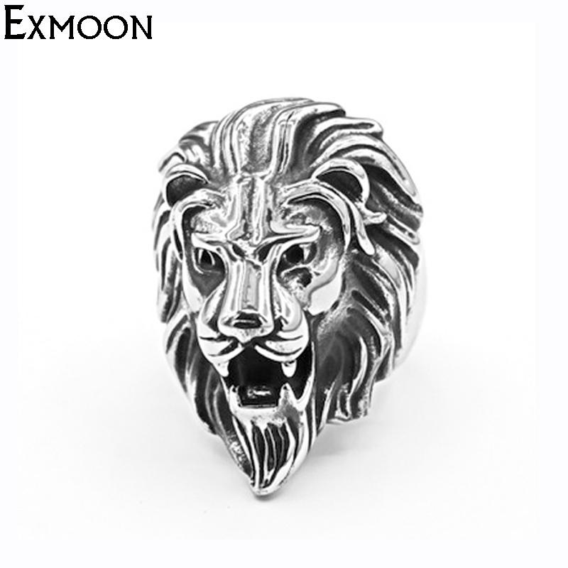 EX-MOON Mens Vintage Lion Animal Ring Jewelry Antique Silver Color Titanium Stainless Steel Retro Punk Metal Ring For Valentine