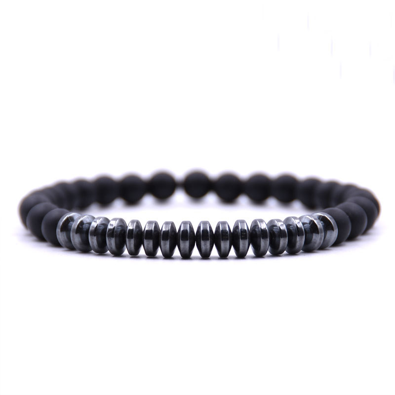 HONEYYIYI 2018 New Bracelet Men Hematite Natural stone Matte beads Bracelets For Women Elasticity Bracelet Jewelry pulseiras ...