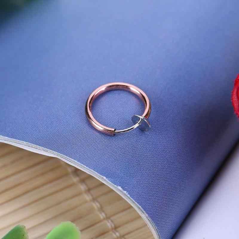 טרנדי נשים סגסוגת בלתי נראה ללא פירסינג חישוקי קליפ-על מזויף האף שפתיים טבעת Tragus עגילי פירסינג האף תכשיטי מתנות 1pcs