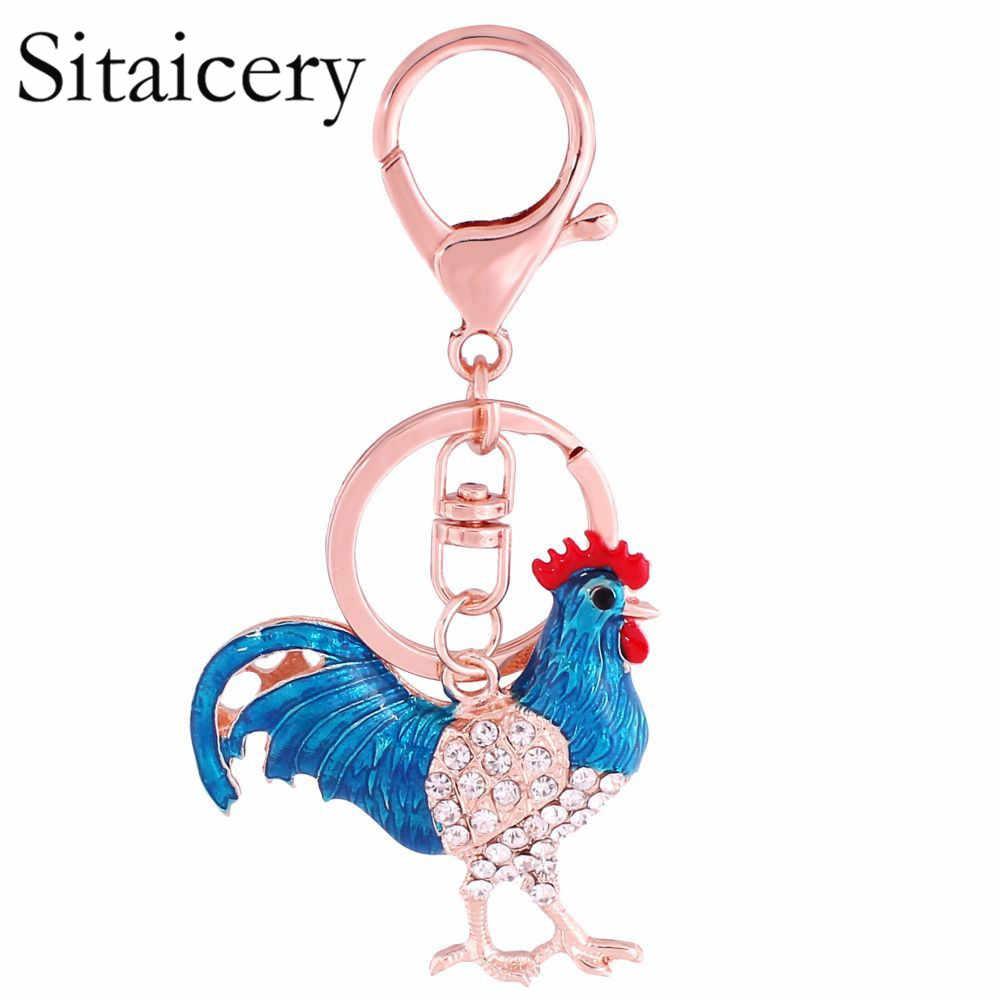 Sitaicery Declaration อะคริลิคไก่ Rooster พวงกุญแจ Keyring แหวนฟาร์มสัตว์เครื่องประดับสำหรับวัยรุ่นหญิงกระเป๋าจี้