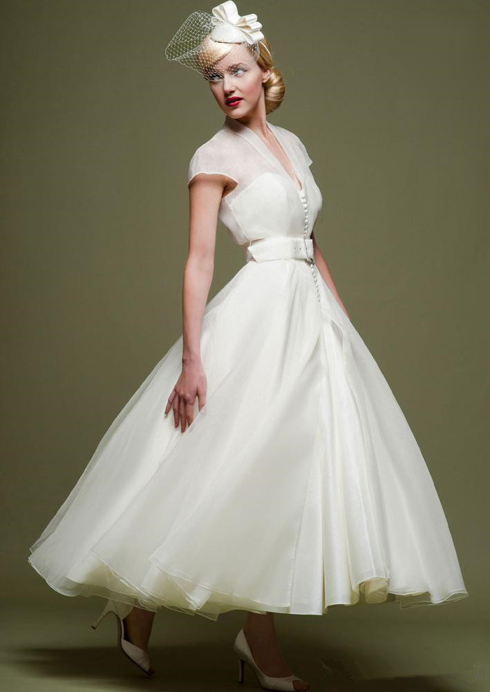 Vintage tea length wedding dresses for bride 2015 white for Simple tea length wedding dresses