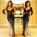 Bling frisado / Lace corpete manga comprida árabe vestidos Myriam Fares celebridade vestido Formal