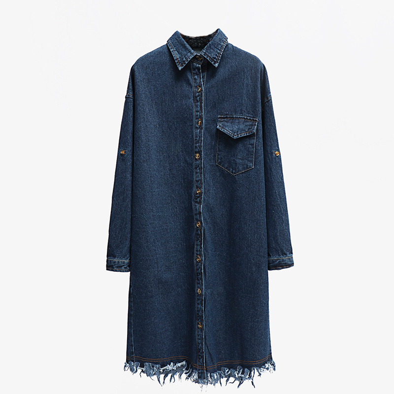 2018 New style Women Jeans   Jacket   long   Jackets   Spring Autumn Tassel Denim   basic     Jacket   Casual Loose Long Coat Outwear Plus Size
