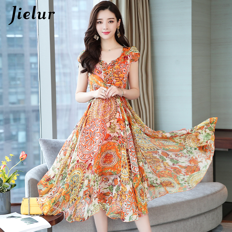 Jielur Woman Dress Chiffon Fashion Korean Style Short Sleeve Dresses Yellow Floral Print Plus Size Vestidos V-neck Summer Dress