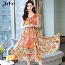 Jielur Woman Dress Chiffon Fashion Korean Style Short Sleeve Dresses Yellow Floral Print Plus Size Vestidos V-neck Summer