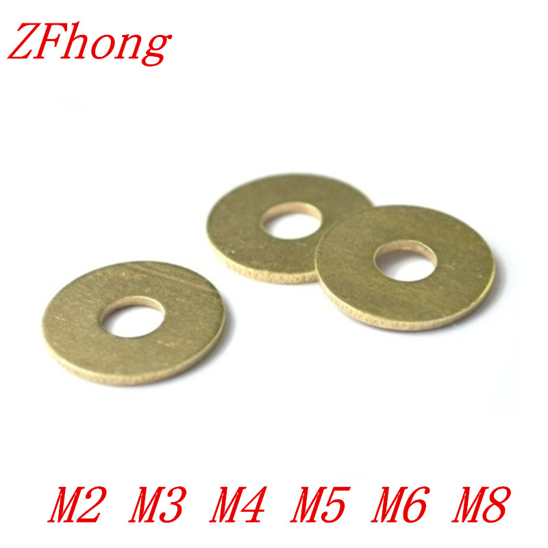 100pcs/lot M2 M2.5 M3 M4 M5 M6 M8 Brass flat washer gasket фары для мотоциклов new atv e 3 dc 12v 80v 9w