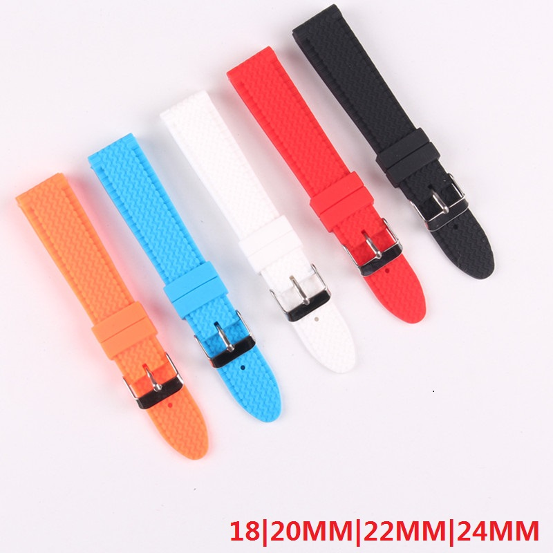Hot Silicone rubber watchband 22mm black White Red watch strap 18 20 24mm with stainless steel Pin buckle waterproof bracelet black blue gray red 18mm 20mm 22mm waterproof silicone watchband replacement sport ourdoor with pin buckle diving rubber strap