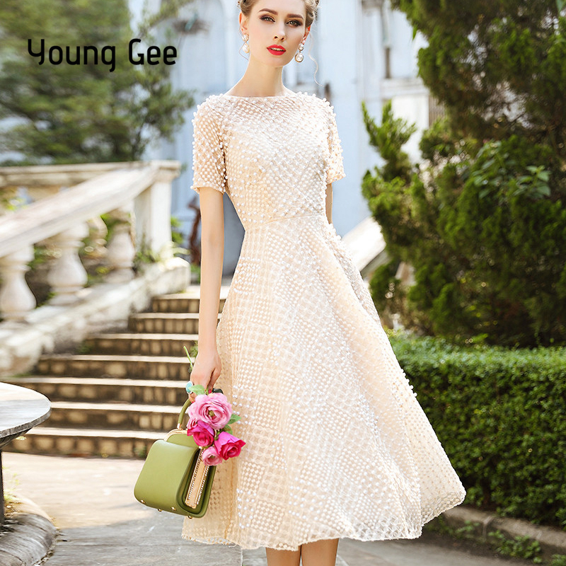 Young Gee White Pink Lace Dress Party Cute Women Elegant Pearls Beading Embroidery Midi Fairy Dresses Slim Waist Summer vestidos