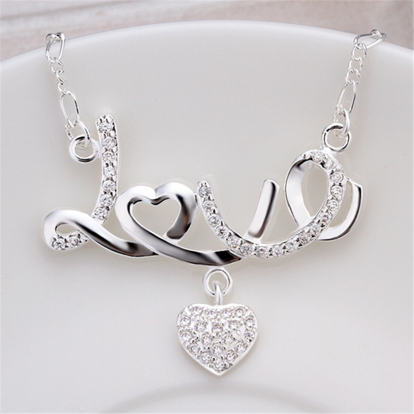 Hot new Specials silver Jewelry fashion women creative classic romantic inlaid stone LOVE hanging heart necklace N309