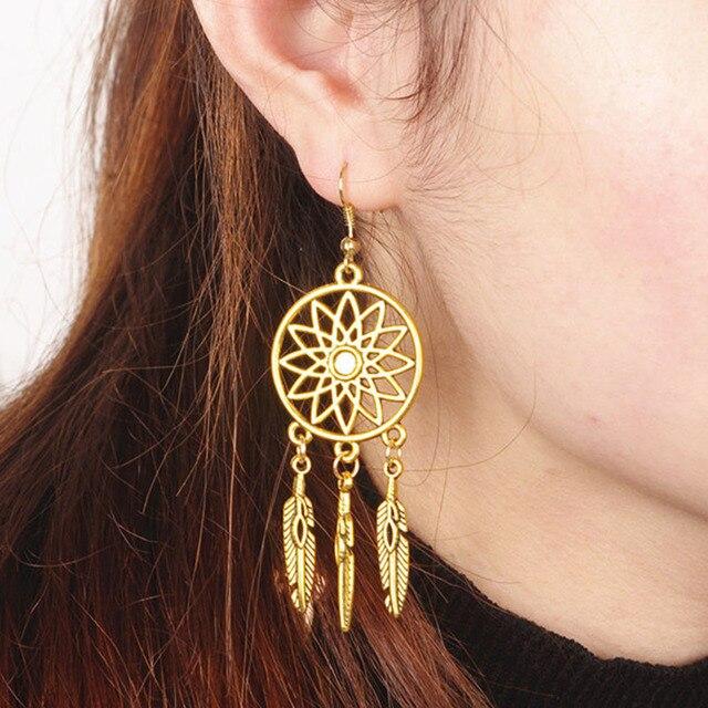 f8721e9dbb3e9 Women Brazilian Ethnic Jewelry Gold/Silver Plated Vintage Hollow Out Lotus  Flower Alloy Feather Fringe Long Drop Earrings-in Drop Earrings from ...