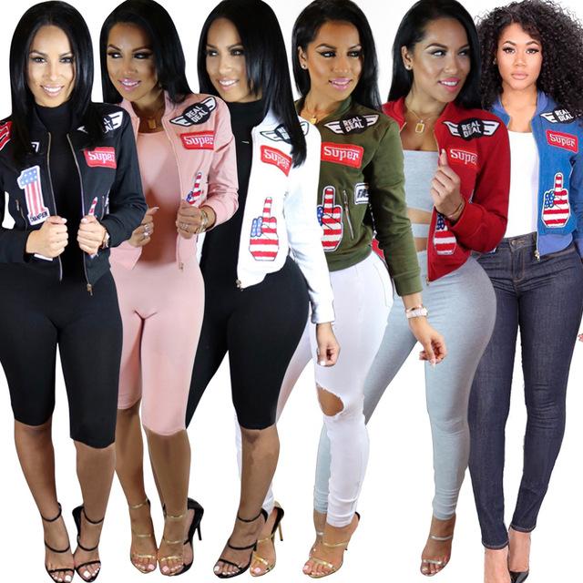 Otoño Las Mujeres Parche Chaqueta Verde Del Ejército Abrigos Cremallera Chaquetas Bomber Jacket Coat Corta Delgada Bordada Básica prendas de Vestir Exteriores Ocasional P30
