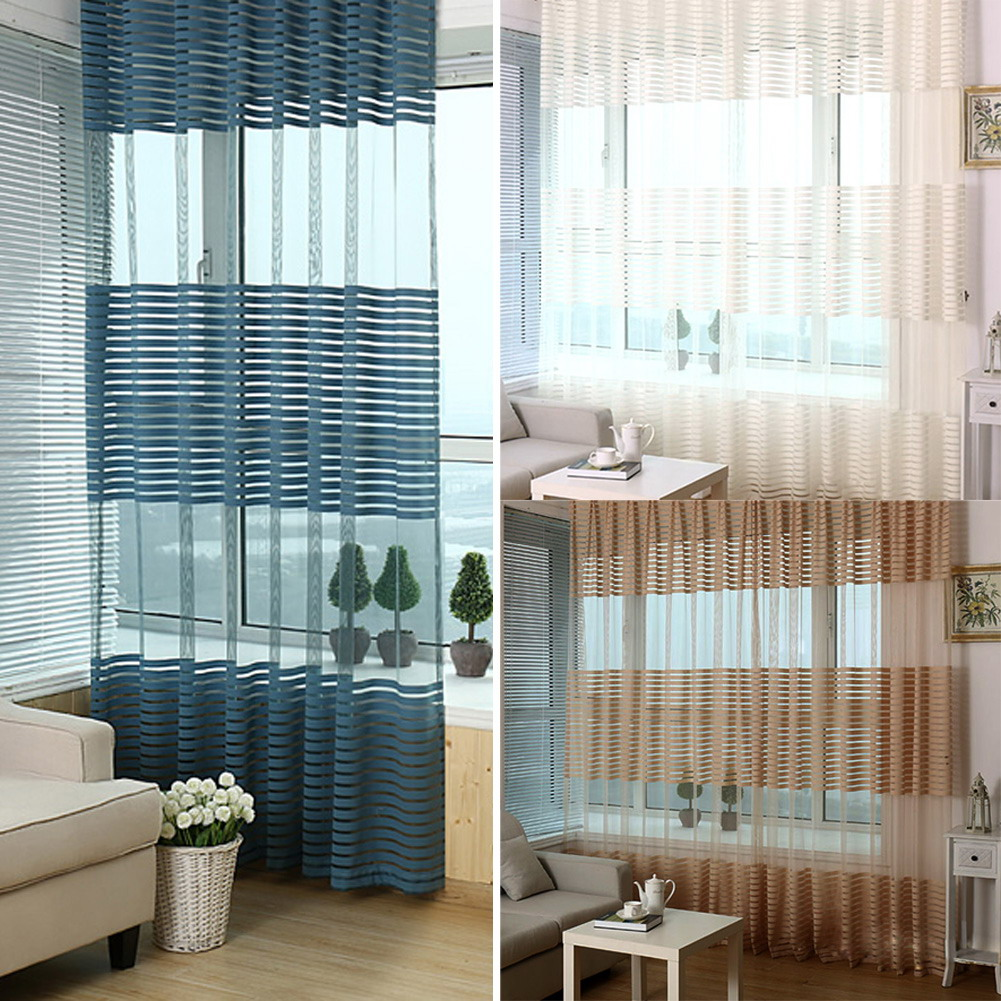 3 Color Summer Cortinas Curtain Sheer Window Door Panel Curtains Room Divider Tulle Scarf Balcony
