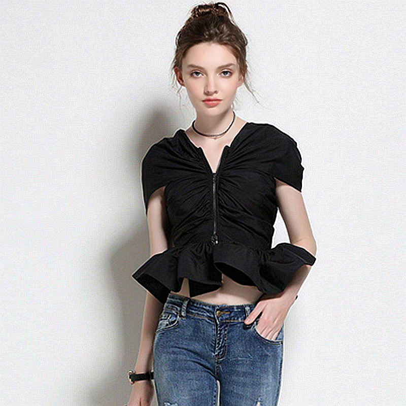 Women's Clothing Blouse Women Novelty Design Jacquard Fabrics Asymmetrical Off Shoulder Long Sleeves Casual Shirt New Fashion Style 2017
