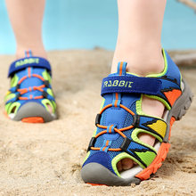 2018 Summer New Style Children Shoes Boys Fashion Cut-outs Sandals Kids Canvas Rain Sandals Breathable Rubber Flats Shoes(China)